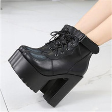 Autumn Winter Lace Up Cross Tied Platform High Heels Ankle Boots for Women White Black  Block Heel Shoes Punk Gothic Combat Boot