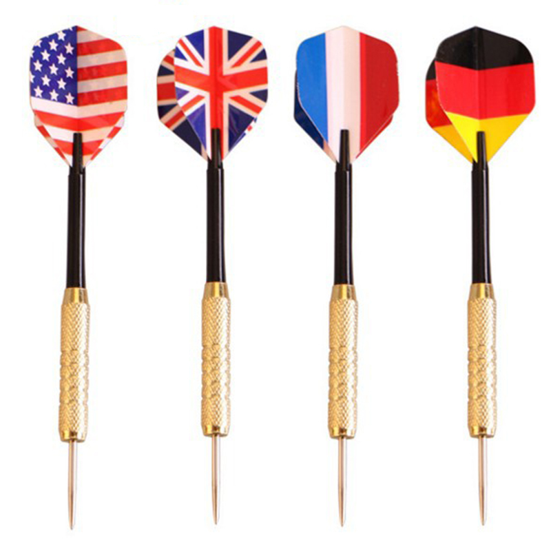 3pcs Professional Steel Tip Darts Set With Two Kind Nice Flag Pattern Tips Points Needle Darts  High Quality Throwing Game Toys