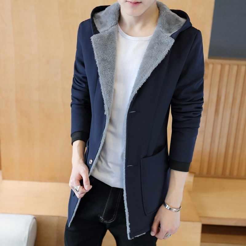 ブランド新冬メンズフリース Linning フード付きトレンチコートファッションカジュアルシングルブレストミディアムの長さ男性スリムフィット暖かいジャケット