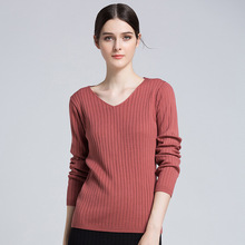 CHRLEISURE V-neck Sweater woman Slim Solid Long sleeve Sweaters feminine Casual splice Acrylic  Autumn winter