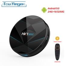Touyinger hk1 mini + android 9.0 caixa de tv rk3318 quad core 64bit Cortex A53 2/4gb 16/32/64gb 2.4g/5ghz wifi bluetooth h.265 4k usb