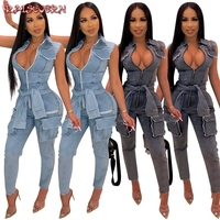 RAISEVERN Fashion Sexy Jeans Jumpsuit Women Overalls Bow Tie Pockets Sleeveless Soft Loose Casual Denim Romper Streetwear 2019