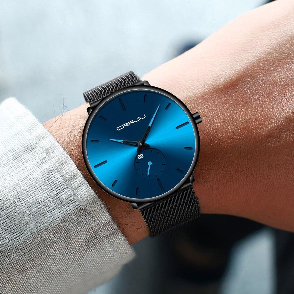 Hdf79764d216e4627a3c6768fea41bb9av CRRJU Ultra Thin Blue Stainless steel Quartz Watches Men Simple Fashion Business Japan Wristwatch Clock Male Relogio Masculino