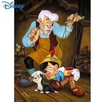 Pintura de dibujos animados de Disney, pintura de diamante 5D DIY de Pinocho, punto de cruz, bordado de eneldo completo, mosaico para decorar la pared, regalo de cumpleaños