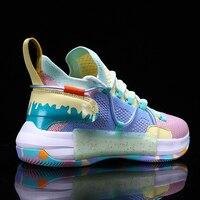 الرجال كول تك تصميم فريد ملون حذاء كرة السلة المضادة للانزلاق امتصاص الصدمات كاندي متعدد الألوان حذاء رياضة المحكمة شريك الموضة