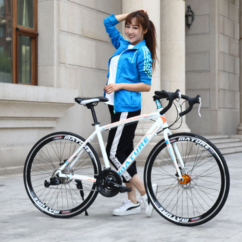 Aluminum Alloy Road Bike 21 30 33 Speed Double Disc Brakes Ultra Light Speed Bicycle Bend Straight Student Bicycle Adult Bike
