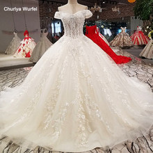 LS75278 ball gown wedding dresses off shoulder sweetheart lace up wedding dress with long train from china 100% real as photos(China)