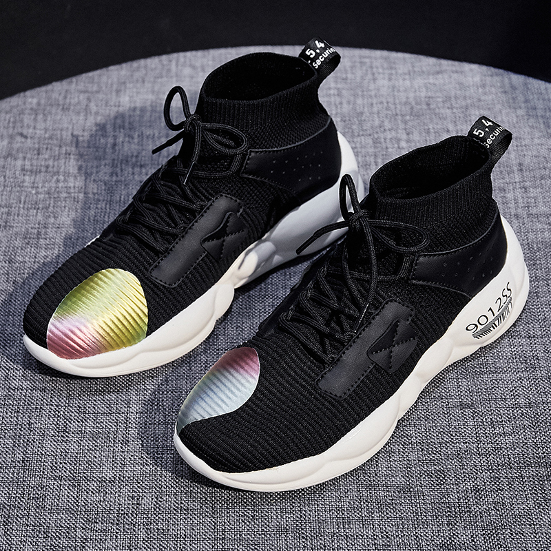 Foreign trade original single cut high quality women's shoes autumn high shoes fast fashion wild socks shoes sports shoes 26