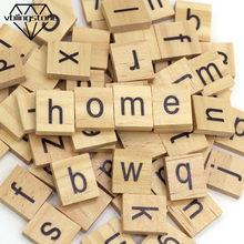 100 Carta De Madeira Scrabble pçs/set Blocos de Letras Do Alfabeto DIY Artesanato Para O Nome Do Bebê Enigma Brinquedos De Madeira Para Crianças Decoração Da Sua Casa