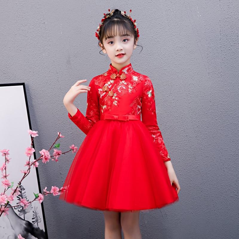 Cute Flower Girls Dresses Kids Chinese Embroidery Lace Cheongsam Dress Baby Girls Elegant Traditional Chinese New Year Dress
