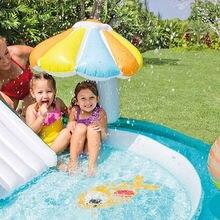 Детский надувной бассейн из ПВХ утолщенный безопасный с горкой