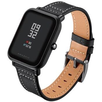 20mm Leather strap for Xiaomi Huami Amazfit Bip Strap Sport smart Watch Metal buckle Band AMAZFIT GTS/GTR 42MM bracelet belt