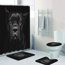 Портрет черной занавески для душа для Корсо тростника, занавеска для ванной комнаты, занавеска для ванны с изображением собак, щенков, живот...