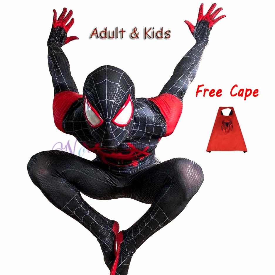 New 2019 Adult Kids Spider Into The Spider-Verse Miles Morales Cosplay Costume Zentai Superhero Black Bodysuit Suit Jumpsuit