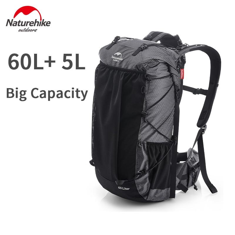 Naturehike Climbing Backpack High Capacity 60L Hiking Backpack Waterproof Men and Women Bag Lightweight Travel Backpack Sports