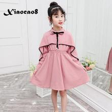 Spring kids solid dresses for girls long sleeve pearl bow princess dress children elegant pink party dress girls autumn clothes цена 2017