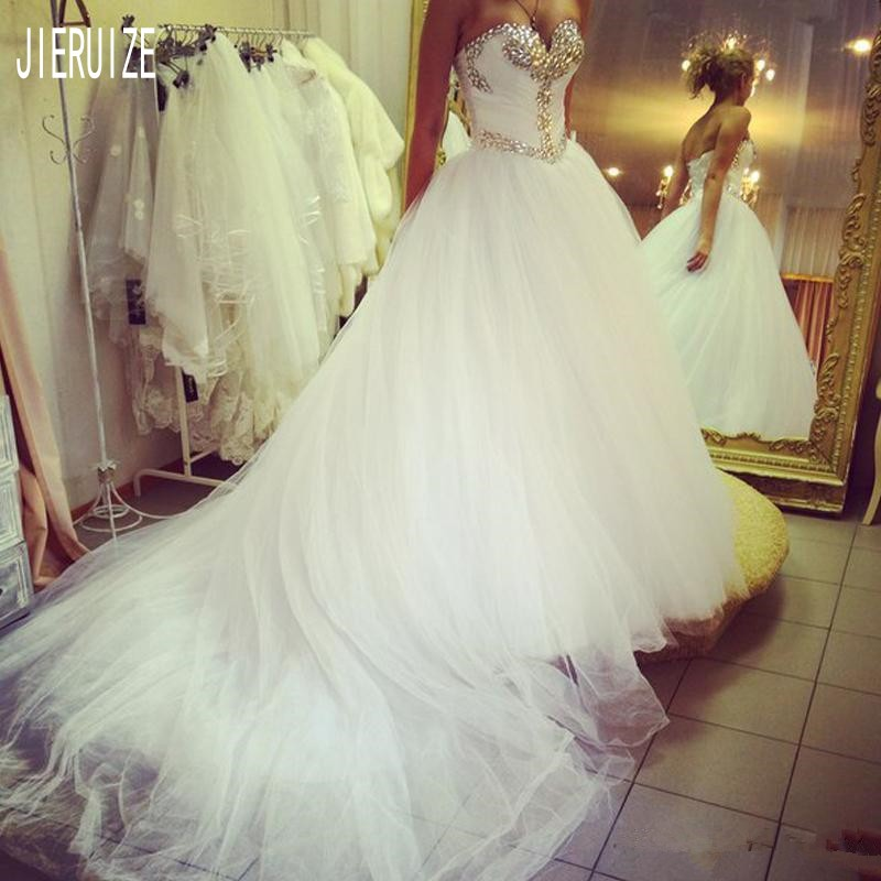 JIERUIZE Luxury Crystal Sweetheart Neck Ball Gown Wedding Dresses With Beading Tulle Bridal Gowns Bride Dresses Lace-up Back