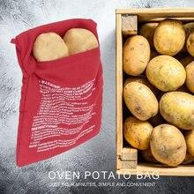 Saco de fogão vermelho lavável microondas forno saco de batata reutilizável assado saco de cozimento de batata bolso fácil de cozinhar cozinha gadget