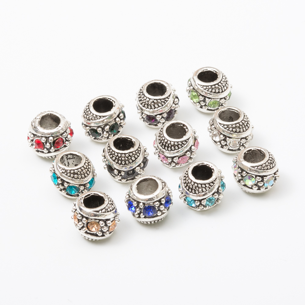 Livraison gratuite Argenté 10pcs À faire soi-même Czech Big Hole beads Fit European Charm Bracelet