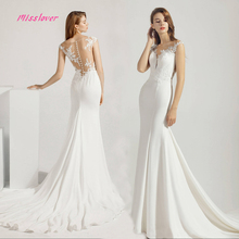 Simlple Soft Satin Vestido de noiva lace Mermaid Bride Wedding Dress 2019 new Bridal Gown Boat Neck Court Train Robe de mariee
