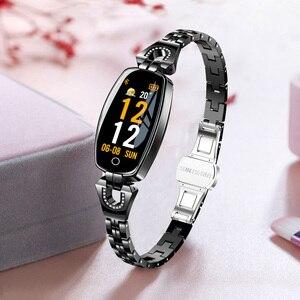 Image 2 - H8 feminino relógio inteligente moda monitor de freqüência cardíaca pressão arterial banda inteligente ip67 à prova dip67 água fitness atividade rastreador senhora pulseira