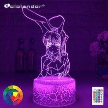Lampe à lumière multicolore, Illusion 3D, ANIME, lapin fille, SENPAI MAI SAKURAJIMA KAWAII, cadeau de noël