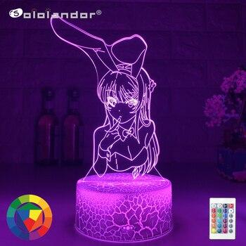 Lámpara de noche Led de ilusión 3D, lámpara de ANIME con cambio...