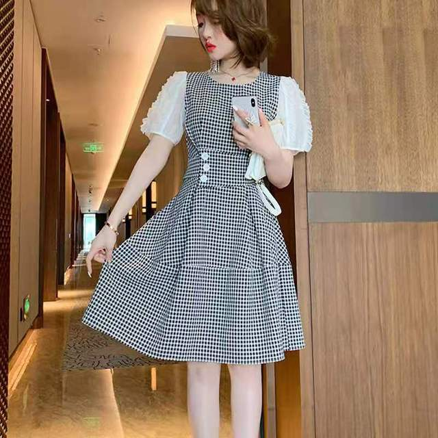 Awarose Plaid Dress For Women Mesh Short Sleeves Patchwork High Waist A-Line Elegant Casual Ladies Party Dresses Female Clothes 4