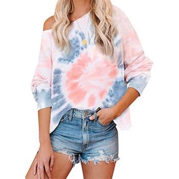 Chic Tie Dye Print Hoodie Women Sweatshirts Autumn Winter Long Sleeve Drop Shoulder Sweatshirt Casual Hoodies Pullover Tops animal print drop shoulder sweatshirt