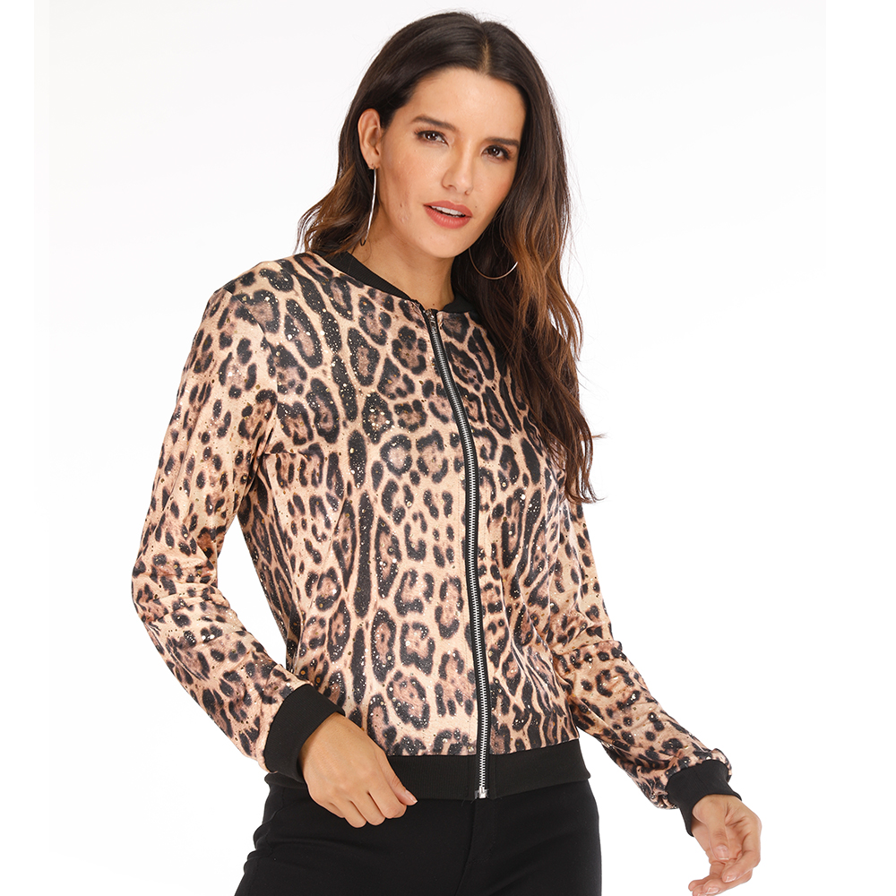 Leopard Printed Women's Jackets Plus Size Coat O-Neck Long Sleeve Short Bomber Jacket Casual Tops Jacket Woman Spring 2019