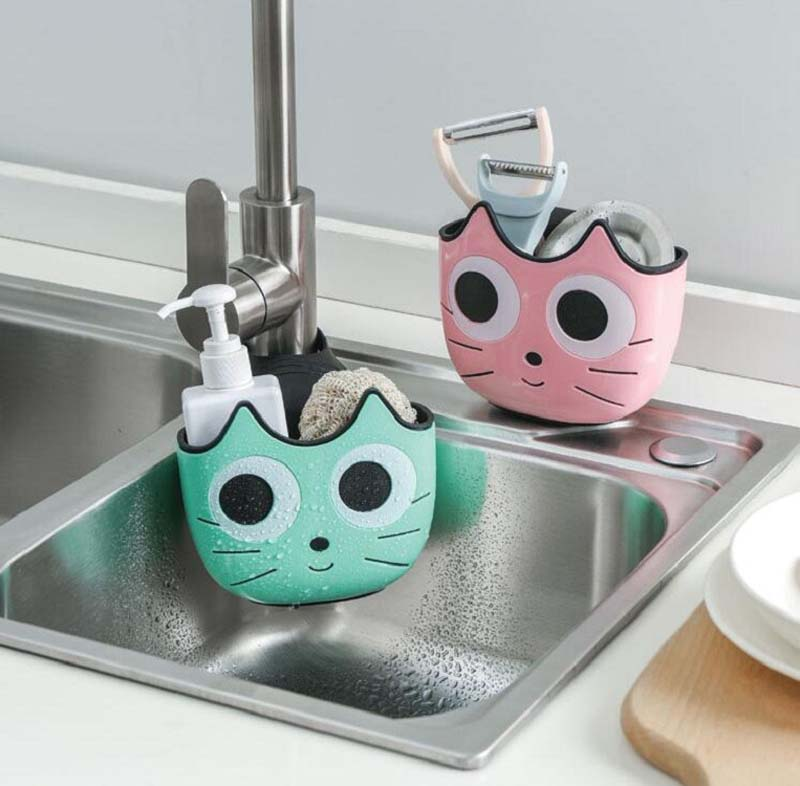 Cute Cat Shape Sink Shelf Soap Sponge Drain Rack Bathroom Holder Kitchen Storage Suction Cup Kitchen Organizer Sink Kitch