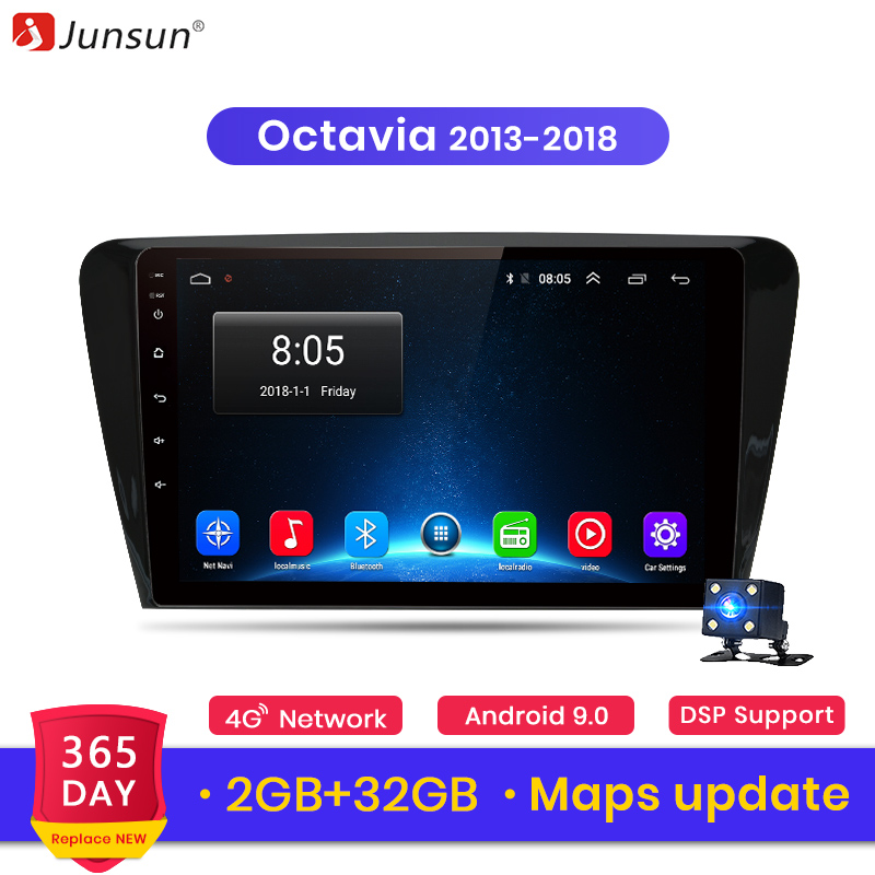 Junsun V1 2G+32G Android 8.1 4G Car Radio Multimedia Video audio Player Navigation GPS For SKODA Octavia 2013 2018 A7 2 din-in Car Multimedia Player from Automobiles & Motorcycles    1