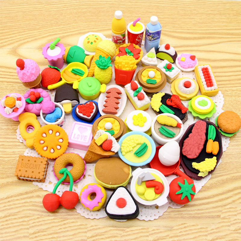 Creative Food Eraser , Various Kinds Of Dessert Food Pencil Eraser For School Kids