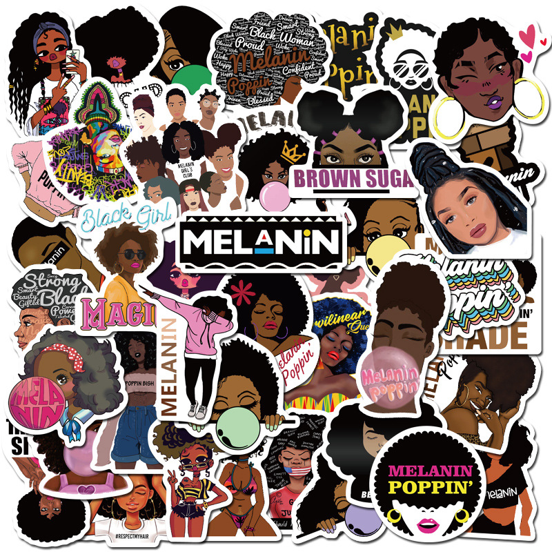 50PCS Fashion Inspirational Melanin Poppin Black Girl Sticker For DIY Luggage Laptop Skateboard Motorcycle Decal Stickers F4