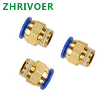 цена на 1 pcs 1/8'' 1/4'' 3/8'' 1/2'' Male-4 6 8 10 12 14 16mm Straight Push In Pneumatic Fitting To Connect Air Compressor Parts