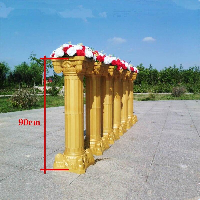 Wedding Roman Column Gold Plastic Flower Pot Road Lead Wedding Scene Layout Silk Flower T Stage Roman Column Decoration Props - 2