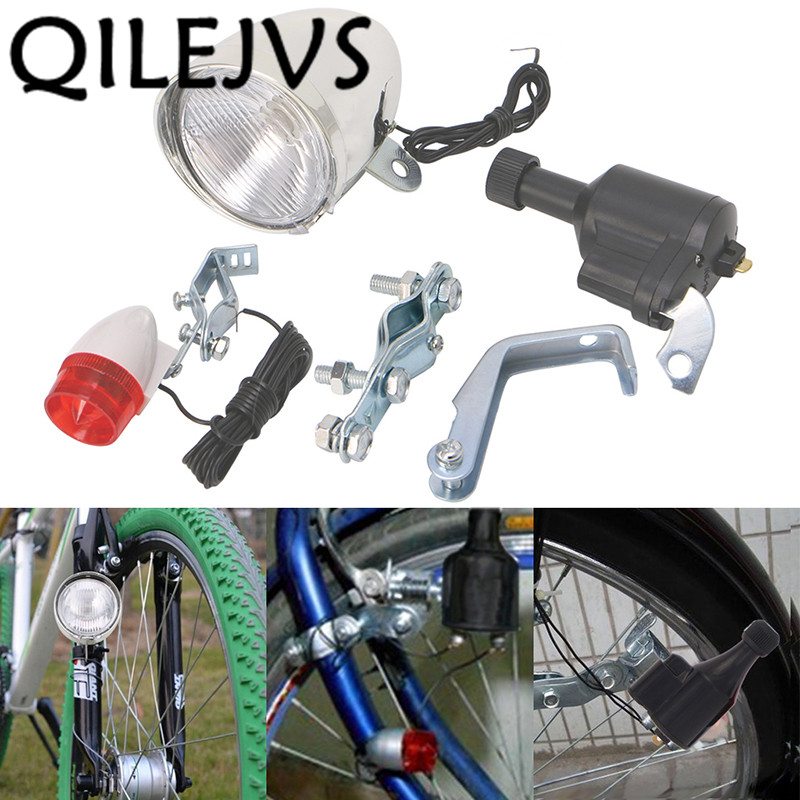 QILEJVS Bicycle Light Motorized Bike Bicycle Friction Dynamo Generator Head Tail Light Acessories|Bicycle Light| |  - title=