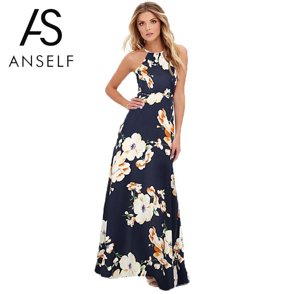 Maxi robe longue 2019 robes d'été femmes imprimé Floral Boho robe grande taille 5XL sans manches plage vacances Slip robe femmes robes