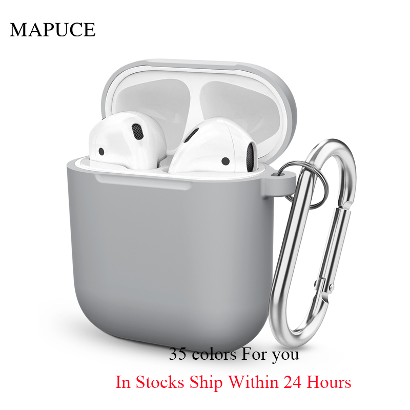 Airpod Case Cover For Apple Soft Silicone Case For Airpods Wireless Headsets Charger Case Airpods 1/2 Universal Hanger Cover