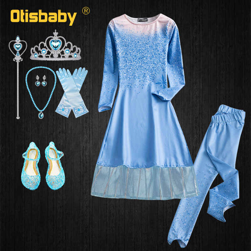 New Year Kids Snow Queen Dress Up Christmas Halloween 2-10 Age Girls Princess Elsa Dress Accessories Birthday Party Clothing Set