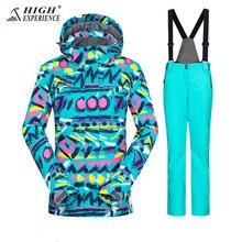 Terno de inverno jaqueta de esqui terno de esqui feminino jaqueta de inverno jaqueta de snowboard terno do esporte de neve à prova dwaterproof água terno