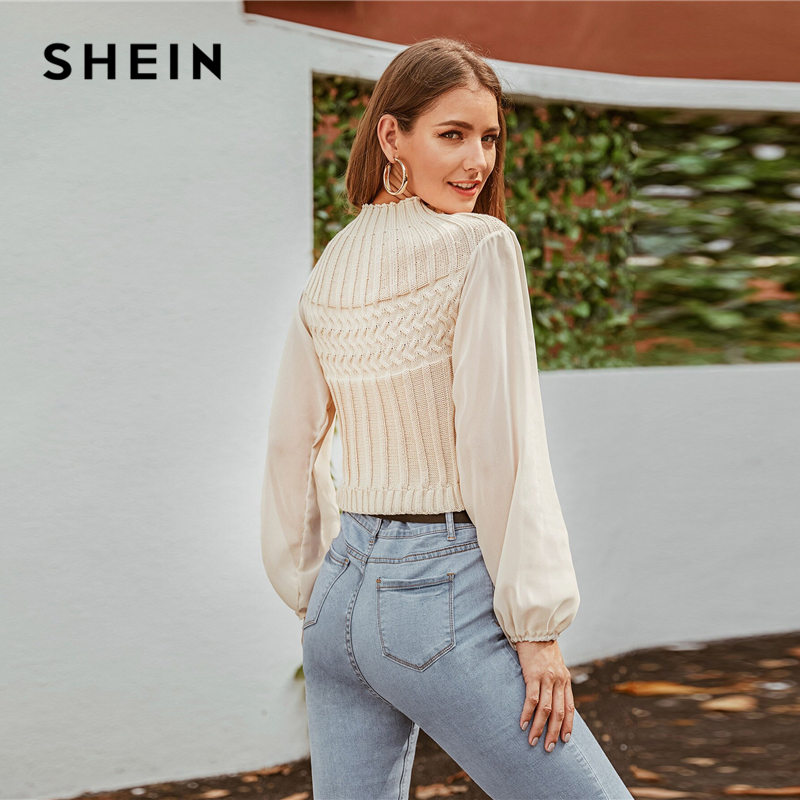 SHEIN Beige Mock-neck Mixed Knit Crop Sweater Women Autumn Winter Mesh Bishop Sleeve Solid Casual Chic Sweaters 2