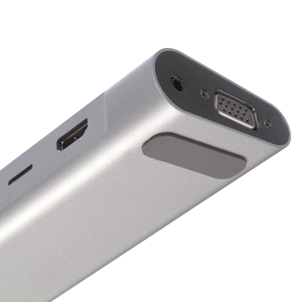 12 Ports USB C Card Reader USB 3.0 Hub RJ45 Coaxial Cable Type C 4K Ethernet For DMI/MiniDP/VGA/Stereo Headphone Jack/SD Card - 3