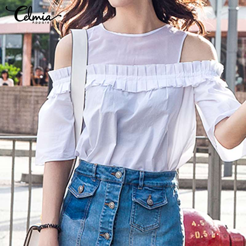 Celmia Summer 2020 Ruffles Tops Women Cold Shoulder White Blouses Sexy Mesh Shirts Short Sleeve Casual Plus Size Solid Blusas