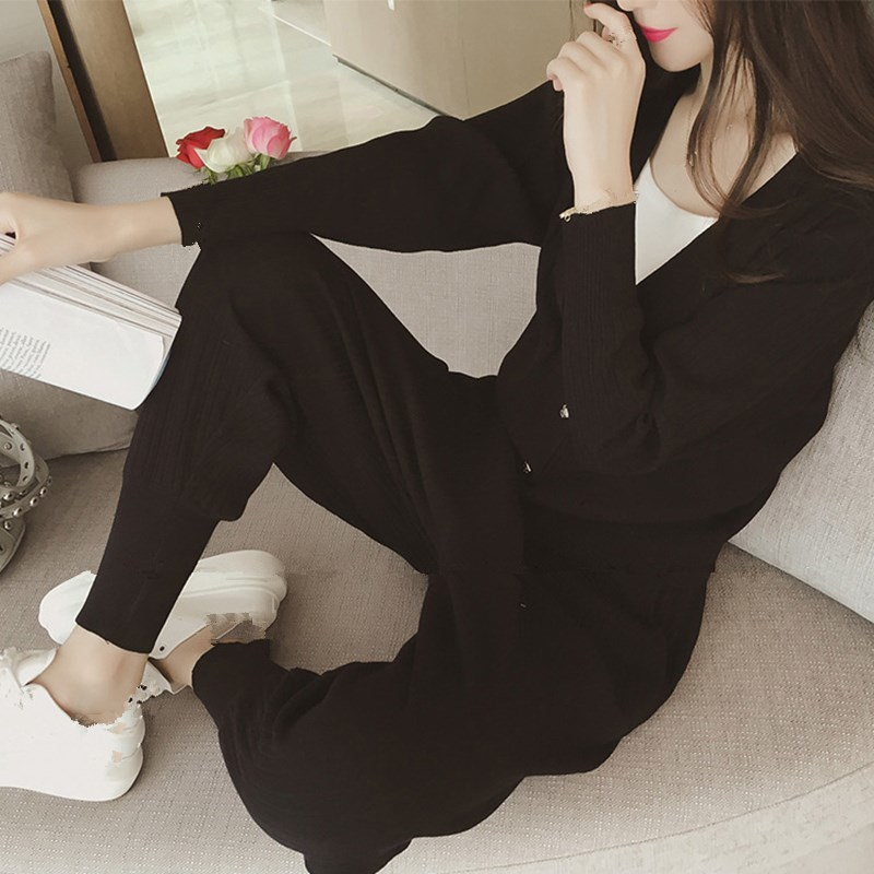 Knitted Casual Tracksuit Pant Suits 2018 Fashion 2 Piece Set Women Sweater And Trousers Set Pants Set 64