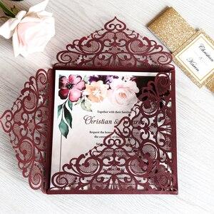 Image 4 - 100 sztuk srebrny kwadratowy papier brokatowy laserowo wycinane zaproszenie ślubne z spersonalizowany ślub Decor zaopatrzenie firm