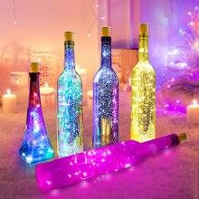 2 м 20 светодиодный светильники в форме винных бутылок, пробковая гирлянда на батарейках, медная проволока, рождественские гирлянды для Хэллоуина, вечерние, свадебные украшения