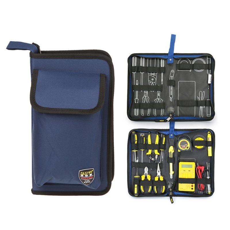 Professional Electricians Hard Plate Tool Kit Bag Storage Case Multifunctional Pocket Organizer Waterproof Oxford 3 Sizes C63E