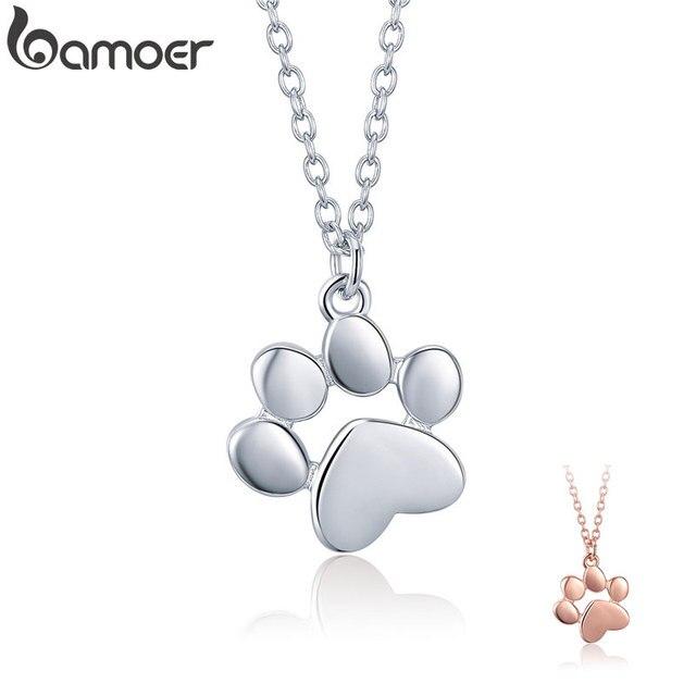 BAMOER Genuine 925 Sterling Silver Cute Animal Footprints Dog Cat Footprints Paw Pendant Necklaces
