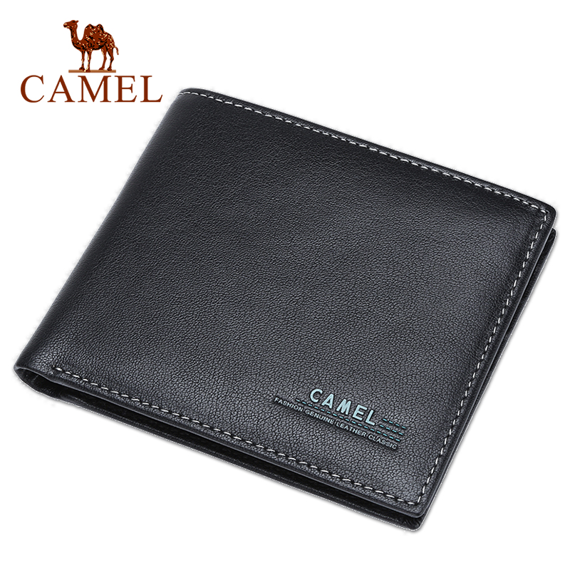 CAMEL Mens Leather Wallet Business Casual Short Cowhide Wallet Mens Young Cross section Soft Wallet TideWallets   -